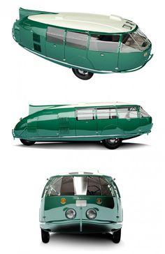 1933 Dymaxion   ~ The Dymaxion car was designed by  Buckminster Fuller in the early 1930s. Its name was a composite of the words 'dynamic', 'maximum' and 'ion.' The three-wheeled Dymaxion Car had rear steering and front-wheel drive powered by a Ford engine. The car could transport up to 11 passengers, reach speeds of up to 90mph, and ran 30 miles to the gallon.