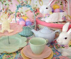 pastel tea with bunnies
