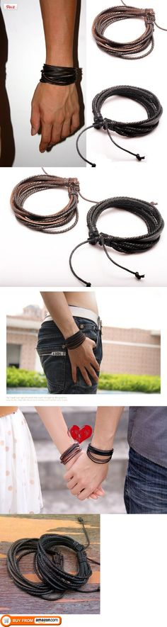 2-Pack Leather Black & Brown Bracelets - Adjustable Wristband - Great For Men, Women, Teens, Boys, Girls, Pack of 2 leather bracelets. The simplicity and stylish design of the bracelet made it suitable and great for men, women, teens, boys and girls.  NOTE: Please check the receiving address carefully to ..., #Jewelry, #Wrap, $9.99