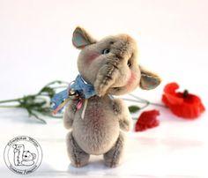Teddybeer OOAK/artiest / Mini olifant Benjamin door TashkasBears