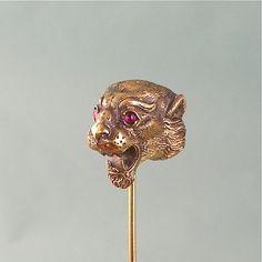antique stick pin | Outstanding Antique Victorian 14K Gold Lion's Head Stick Pin, Garnet ...