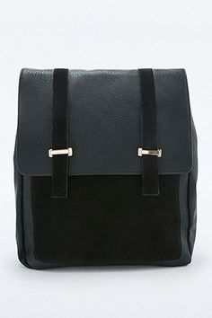 21c4f8a0f73a Black Suede Square Metal Bar Backpack