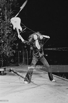 Guitarist Ritchie Blackmore performing with English rock group Deep Purple at the California Jam rock festival, at the Ontario Motor Speedway, Ontario, California, 6th April 1974.