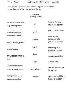 free multiple meaning words worksheet   Grammar/Language ...