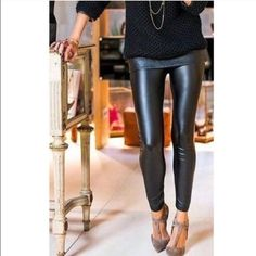 Vegan Leather Leggings These are a reposh. Seriously so adorable, they just are too tight for my legs! Never worn by the previous posher, and I only tried them on, but didn't wear. One size fits all, but they fit like a S/M. Offers welcome! Botique Pants Leggings