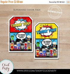 50% OFF SALE Superhero Favor tags, Super hero Thank you Tags, Superheroes Gift Favors, Birthday party decorations, Party supplies, INSTANT D