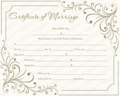 marriage certificate Creamy Gray Marriage Certificate Template - Get Certificate Templates Certificate Of Completion Template, Free Certificate Templates, Certificate Format, Wedding Certificate, Printable Certificates, Marriage Certificate, Certificate Design, Gift Certificates, Marriage Records