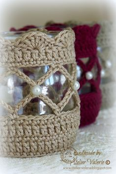 Crochet Votive Cover pattern by NW Nature Nut Crochet Gifts, Diy Crochet, Crochet Ideas, Crochet Jar Covers, Crochet Home Decor, Crochet Decoration, Crochet Kitchen, Crochet Accessories, Yarn Crafts