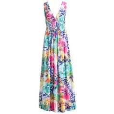 Sexy Plunging Neck Colorful Floral Print Sleeveless Dress For Women (135 RON) ❤ liked on Polyvore featuring dresses, sexy day dresses, multi colored dress, flower pattern dress, sleeveless dress and floral day dress