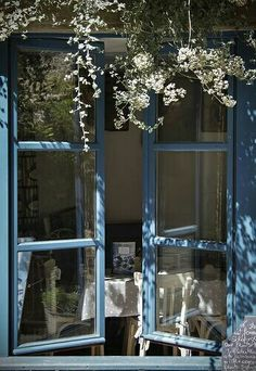 Blue windows bring blue birds on a Sunday morn' as they worship and praise the surrounding flowers of Spring.