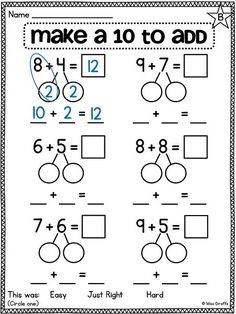 Break apart numbers to make a ten to make adding easier (bridging to and other great compensation worksheets and activities for first grade by andrea Kindergarten Math Worksheets, Math Resources, Teaching Math, Math Activities, Mental Math Strategies, Multiplication Worksheets, Therapy Activities, Eureka Math, Math Intervention