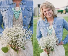 Bridesmaid In Jean Jacket.  love it!!!!!!!!!!!! But for the bride