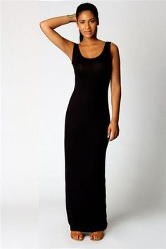 8020119b82e1 2016 Long black spaghetti strap vest one-piece dress female slim knitted  slim hip basic sleeveless vestido corto fiesta mujer