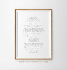 One year wedding anniversary gift, Wedding Song lyrics poster, Personalized song Poster, First anniversary gift, your own lyrics art print by SaraCristinaDesigns on Etsy Wedding Song Lyrics, Wedding Songs, Wedding Gifts, Wedding Vow Art, Our Wedding, Garden Wedding, One Year Anniversary Gifts, Getting Married, Poster