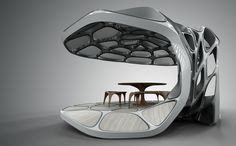 Zaha Hadid set to launch prefabricated dining pavilion at which uses lightweight engineering, and precision fabrication. Creative Architecture, Architecture Design, Zaha Hadid Design, Small Buildings, Prefab, Pavilion, Product Launch, Fabric, Engineering
