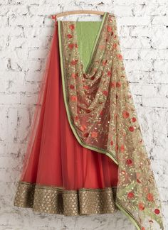 Lehengas by SwatiManish : Coral red lehenga with floral dupatta
