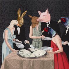Daria Petrilli - Banquet - It reminds me of the Él Angel Exterminador Art And Illustration, Daria Petrilli, Arte Van Gogh, Pierrot, Animal Heads, Pop Surrealism, Art Studies, Surreal Art, Unique Art