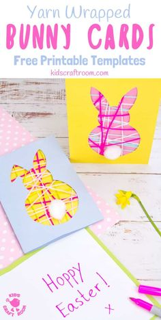 These pretty yarn wrapped easter bunny cards are super cute and very easy to make. they're great fun as an easter craft for kids that lets them practise Diy Easter Cards, Bunny Crafts, Easter Art, Easter Crafts For Kids, Easter Bunny, Flower Crafts, Bunny Templates, Printable Templates, Free Printables