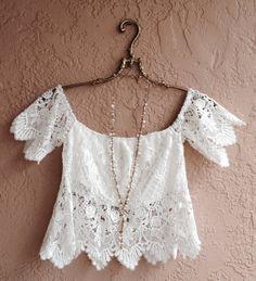 Romantic white crochet crop off shoulder bohemian by BohoAngels, $60.00