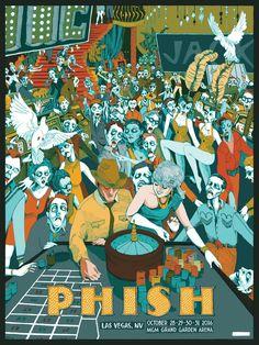 2016 Phish - Las Vegas Silkscreen Concert Poster by Landland Phish Posters, Tour Posters, Concert Posters, Movie Posters, Halloween Run, Halloween Poster, Mgm Grand Garden Arena, Album Covers, Las Vegas