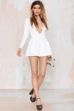 Mila Plunge Romper - Rompers + Jumpsuits | Best Sellers | Back In Stock | Winter White | Dresses