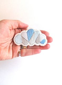 Gray cloud geometric brooch hand embroidered by AnAstridEndeavor