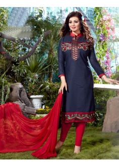 Casual Wear Blue & Red Salwar Suit - FD167-21