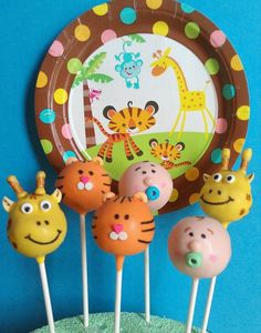 baby shower - animal theme cake pops just better looking Baby Shower Menu, Baby Shower Cake Pops, Baby Shower Themes, Shower Ideas, Jungle Theme Cakes, Safari Cakes, Jungle Party, Cupcake Party, Cupcake Cakes