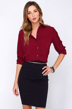 """Show the office who the REAL boss is, in the Glamorous Business Dynamics Burgundy Long Sleeve Top! This woven poly top comes in a rich hue of burgundy, and has all your favorite button-up features. The collared neckline makes the perfect topper above a full length button placket on the wide-cut bodice. A patch pocket and long cuffed sleeves bring the look together. Unlined. Top measures 2"""" longer at back. 100% Polyester. Hand Wash Cold. Imported."""