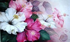 1018 - Hibiscos - Pintura,  60x120 cm ©2009 por Silvana Oliveira -