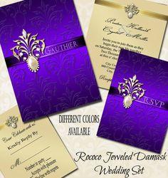 Rococo Jeweled Damask Wedding Invitation & Rsvp by TheInspiredEdge