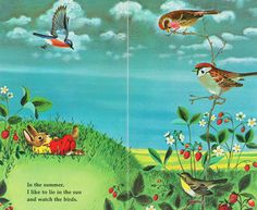 It feels like summer today on Vancouver Island! 🌞 On days like today, we like to lie in the shade of a tree and watch birds, cottonwood fluff, and clouds. What do you like to do on sunny summerlike days? Illustration by Richard Scarry . Richard Scarry, Bunny Book, Art Folder, Children's Book Illustration, Book Illustrations, Vintage Children's Books, Childrens Books, Illustrators, Images