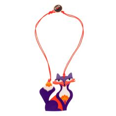 Limited edition, original Erstwilder Paloma Prairie Fox necklace in purple. Designed by Louisa Camille Melbourne. Buy now Quirky Gifts, Foxes, Unicorns, Inventions, Brooches, Melbourne, Chokers, Pendants, Plastic
