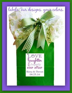 Labels & Stickers for Wedding Favors, Boxes, Bags, DIY Projects - all surfaces, all sizes, our designs with your colors. FREE PROOF!