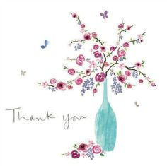 Flowers in a vase #ThankYou notecard from Woodmansterne, sold in packs of 5