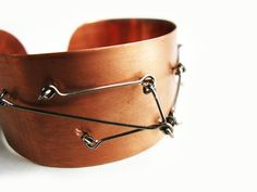 Metal cuff bracelet of copper and stainless steel by ProjektMosko, $44.00