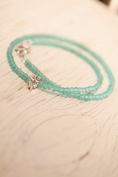 Turquoise Small Glass Bead Necklace