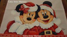 Minie e Mickey pintados para o Natal.  Boa pintura!  Cátia Amélia