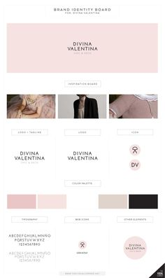 Tine: Farve, logo, font identity for Divina Valentina boutique by The Visual Corner studio Identity Design, Visual Identity, Brand Identity, Corporate Design, Feeds Instagram, Web Design, Graphic Design, Brand Style Guide, Branding Your Business
