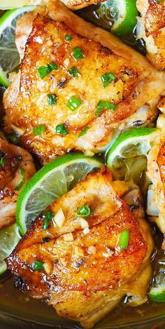 There doesn't seem to be any cilantro in this and it also looks like there is chopped garlic in it. decide for yourself what you want in it. Pan-Roasted Cilantro Lime Honey Chicken Thighs – easy, delicious, super-flavorful chicken!