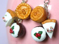 Polymer Pudding Earrings , Christmas Food Clay Charm, Fashion Bead Jewellery, Mince Pies, Xmas, Pie Slices