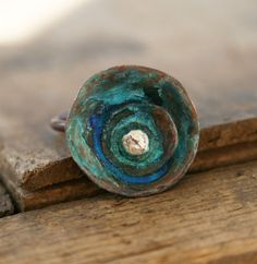 Verdigris Poppy Flower Copper Ring made to order by jennreeseSEVEN, $39.00