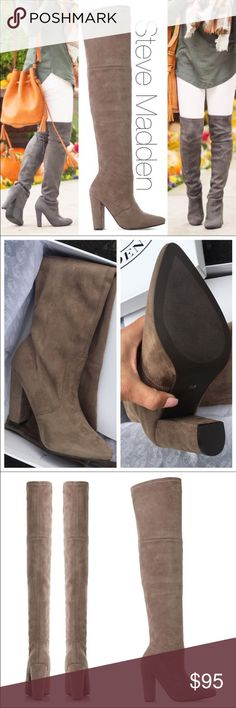 NWB ❤ STEVE MADDEN OTK BOOT SIZE 7.5 TAUPE New never worn STEVE MADDEN OTK BOOT SIZE 7.5 in Taupe.  Runs about 1/2 size small. No tie in back / no zipper. Slim fit boot with plenty of stretch, but structured enough that it does not sag. Thick stretch high quality vegan suede. Truly Gorgeous!  Ships same or next day from my smoke free home in original box.   Priced FIRM unless bundled.  Actual boot on me pic #4.  Boot measurements can be viewed on photo #4.   I also have size 9.5 listed…