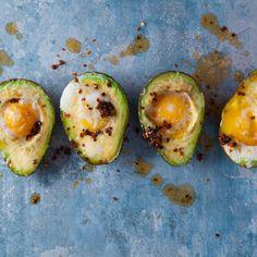 Baked avo eggie cups   Woolworths TASTE Avocado Recipes, Vegan Recipes, Breakfast Quiche, Food Tasting, Fresh Coriander, Baked Eggs, Avocado Egg, Vegan Vegetarian, Low Carb
