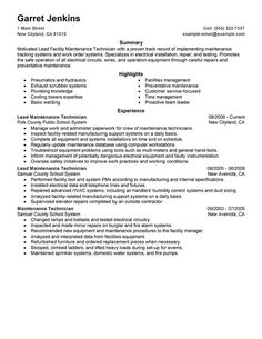 Resume For Maintenance Big Industrial Maintenance Mechanic Example  Modern 1 Design