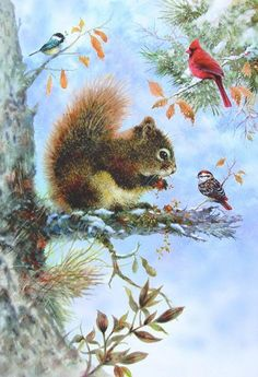 Little Squirrel Square Diamond Painting Christmas Scenes, Christmas Animals, Christmas Art, Christmas Greetings, Illustrations, Illustration Art, Squirrel Art, Images Vintage, Bird Tree