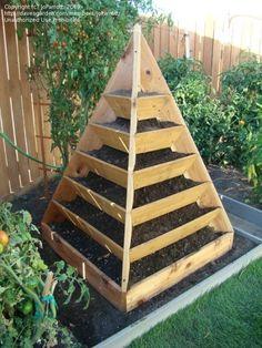 contenedor - pirámide de madera para pequeños espacios, por ejemplo para aromáticas, fresas, lechugas ...