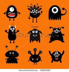 Black monster big set. Cute cartoon scary silhouette character. Baby collection. Orange background. Isolated. Happy Halloween card. Flat design. Vector illustration.