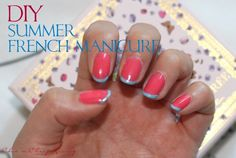 #beauty #DIY - summer French manicure! I love the bright possibilities of these nails #makeup