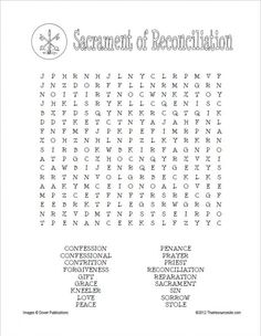 Sacrament of Reconciliation Word Search | Thatresourcesite – Educational and Religious Education Resources for Teachers and Homeschoolers.